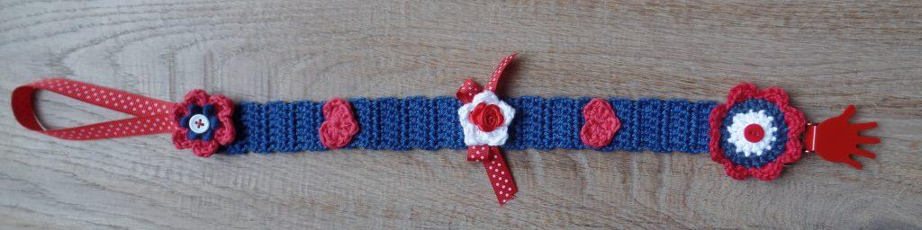 gehaakt speenkoord blauw met rood 2