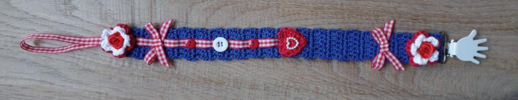 gehaakt speenkoord blauw met rood 1